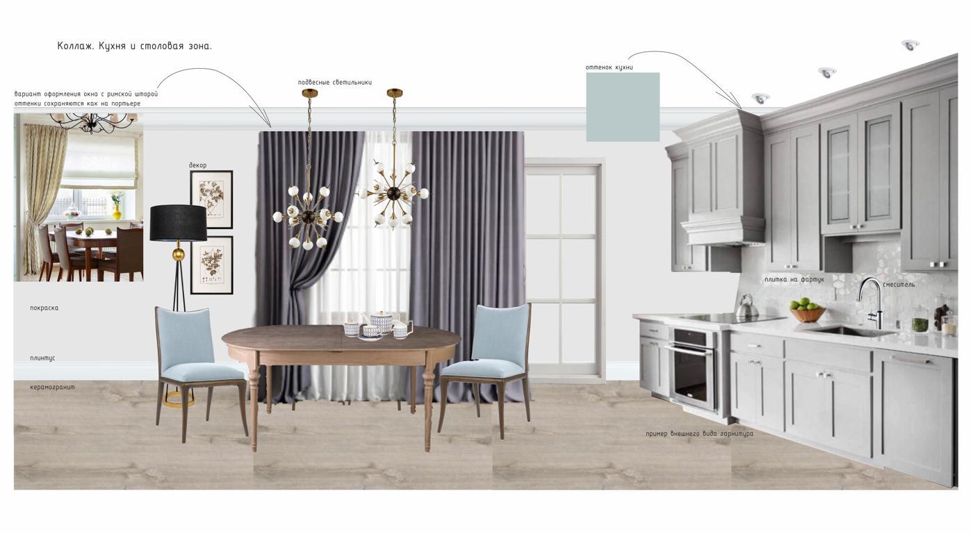 Частный двухэтажный дом для семьи с двумя детьми (коллаж, кухня и столовая зона)