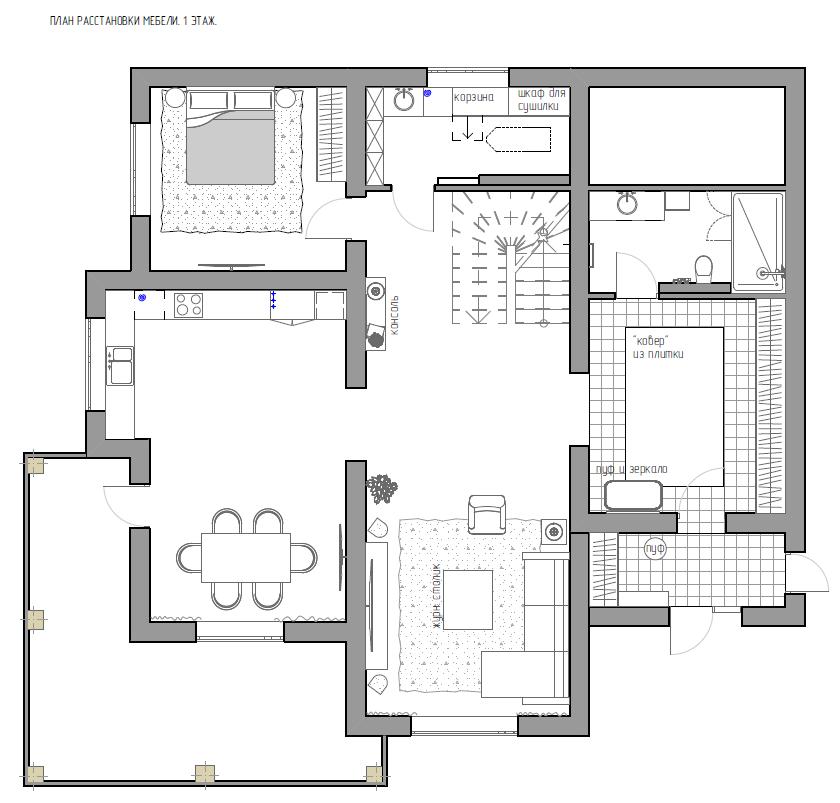 Частный двухэтажный дом для семьи с двумя детьми (план)